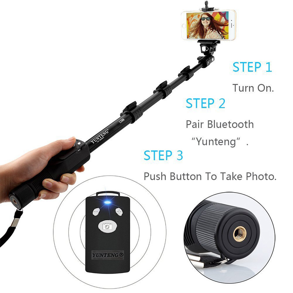 New yunteng 1288 selfie stick bluetooth for iphone android smartphone  portable bluetooth monopod for xiaomi Camera samsung GoPro-in Selfie Sticks  from ...