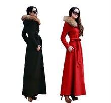 2016 New Fashion Autumn and Winter Hooded Overcoat Slim Women's Long Wool Coat Cashmere Coat Raccoon Fur Winter Jacket Coat Red