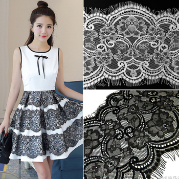 3M / lot 16.5cm Wide Black White Lace Fabric trim Wedding Decoration Sewing Applique Eyelashes Lace Ribbon