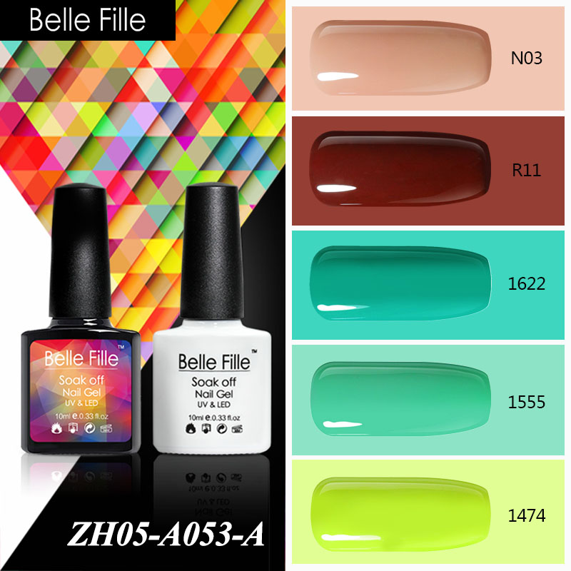 Belle Fille 10ml Nude Brown Green Color UV Gel Nail Polish LED Soak Off Colorful Vernis Semi Permanent Rainbow Birthday Makeup