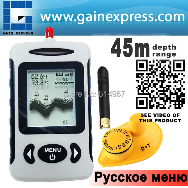 цена на Russian LUCKY Wireless Sonar Fish Finder River Lake Sea Bed Live Depth New Contour 45M Fishfinder Fishing Finder
