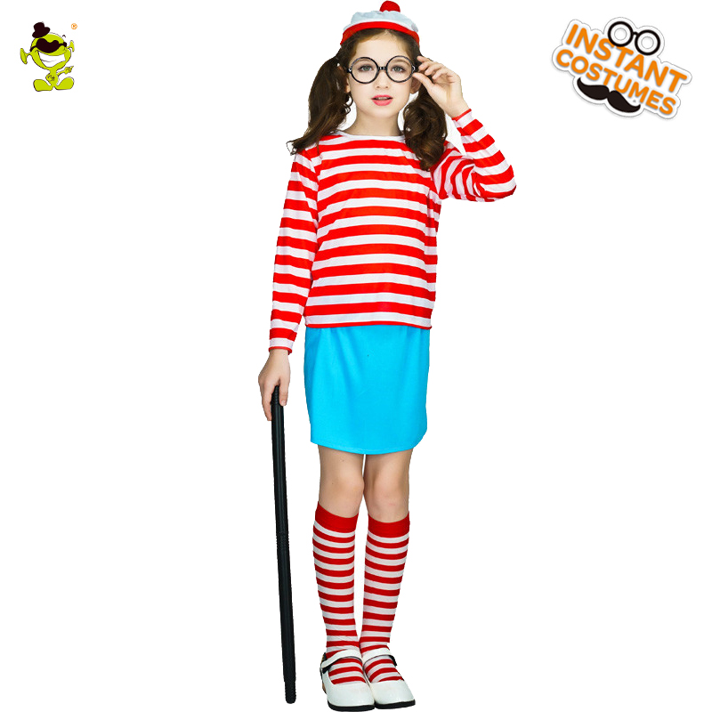 Girls Costumes Costumes & Accessories Sincere Girls Wheres Wally Now Red&white Striped Costumes Kids Smart Wally Imitation Clothes For Christmas Halloween Party Careful Calculation And Strict Budgeting