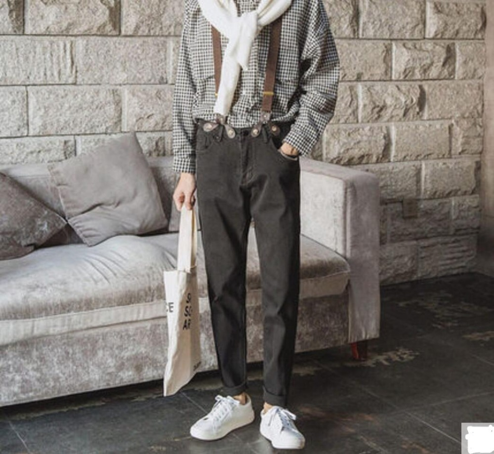 font b Men s b font fashion brief font b jeans b font suspenders trousers