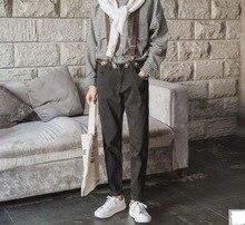 Men s fashion brief jeans suspenders trousers men slim skinny pants trousers teenage solid color feet