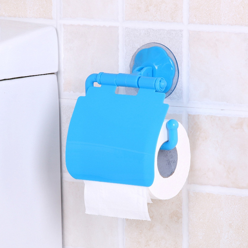 Wall Mounted Plastic Suction Cup Seamless Bathroom Toilet Paper Roll Paper Barrel Rack Bathroom Accessories Toilet Paper Holder