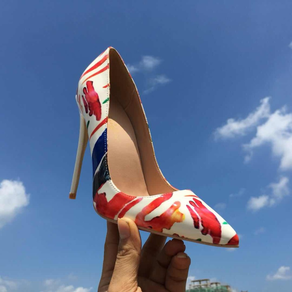 Keshangjia Sexy high heels 2018 New arrival Red Graffiti Colorful Stiletto Women Pumps wedding shoes