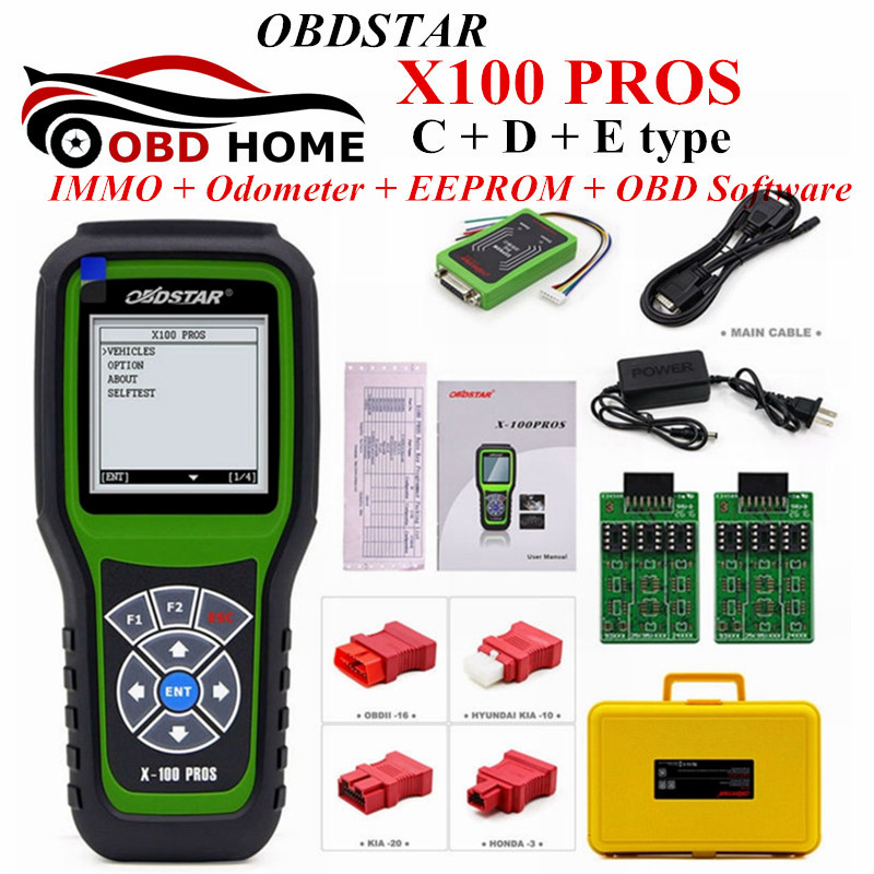 Новое поступление X100 плюсы Авто Ключевые программист immobiliser + + одометр EEPROM адаптер (C + D + E) obdstar X-100 Pro X 100 плюсы обновление онлайн