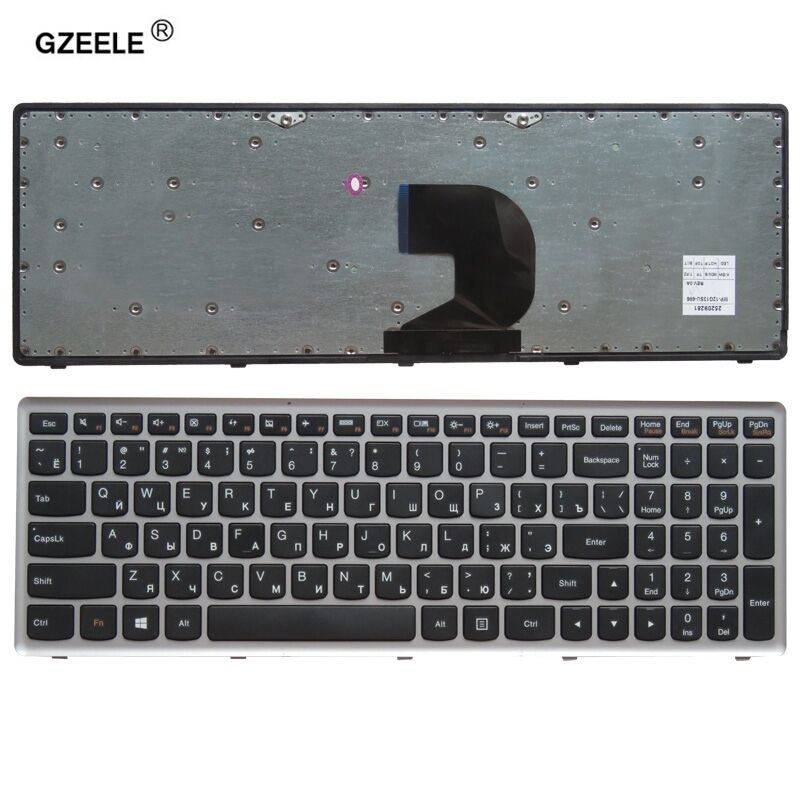 GZEELE russian laptop keyboard for LENOVO Z500 Z500A Z500G series RU layout with silver frame notebook replace laptop Keyboard new german laptop keyboard for lenovo ideapad z500 z500a z500 z500g p500 backlit led gr keyboard with frame