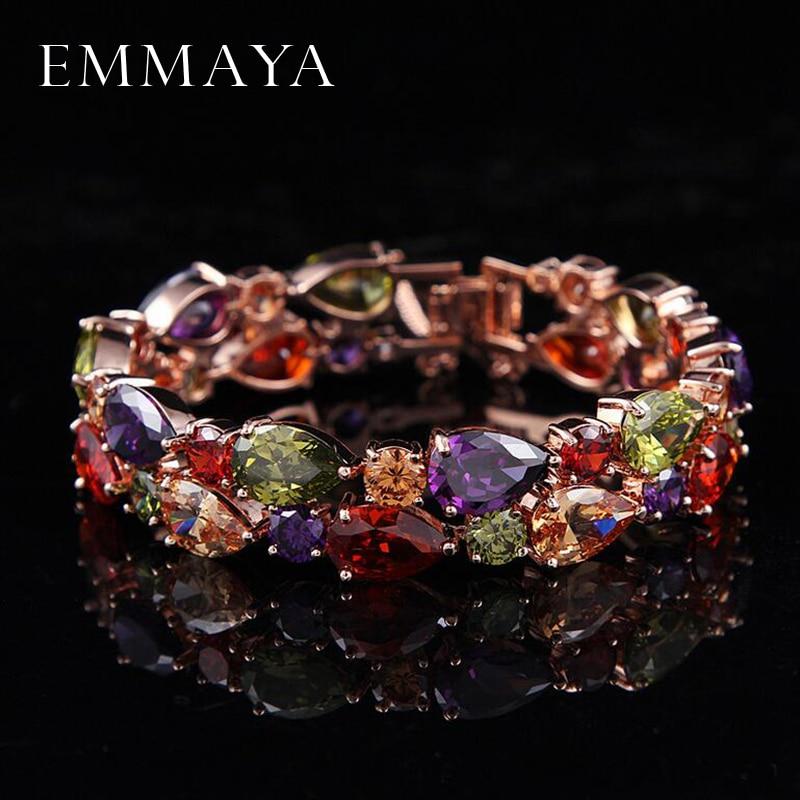 Emmaya Factory Price Mona Lisa Multicolor Cubic Zircon Bracelets Bangles Luxury Wedding Bracelets for Women Crystal Jewelry