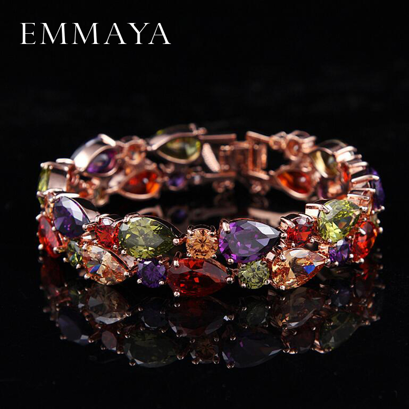 Emmaya Factory Price Mona Lisa Multicolor Cubic Zircon Bracelets Bangles Luxury Wedding Bracelets for Women Crystal Jewelry