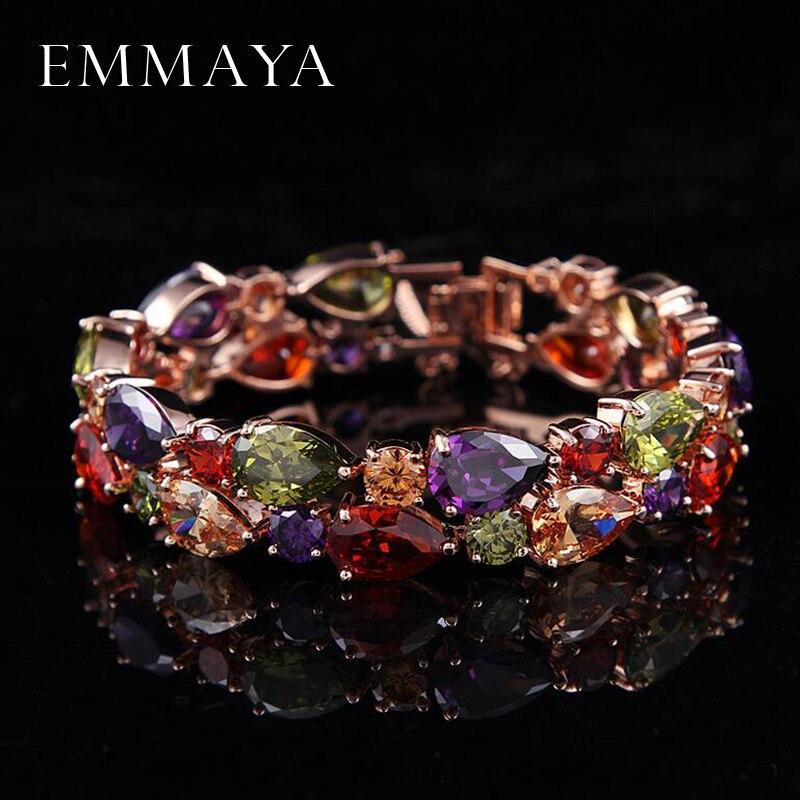 Emmaya Preço de Fábrica Mona Lisa Multicolor Cubic Zircon Pulseiras Pulseiras Pulseiras para As Mulheres de Cristal Jóias de Casamento de Luxo