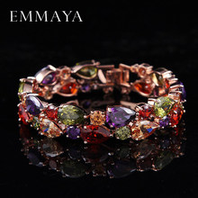 Emmaya Factory Price Mona Lisa Multicolor Cubic Zircon Bracelets Bangles Luxury Wedding Bracelets for Women Crystal Jewelry(China)