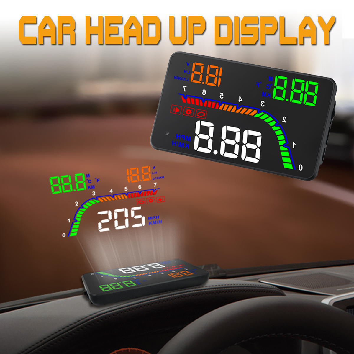 4Inch T100 OBD2 HUD Head Up Display Digital Car Speedometer Windshield Projectort alarm system Electronic display