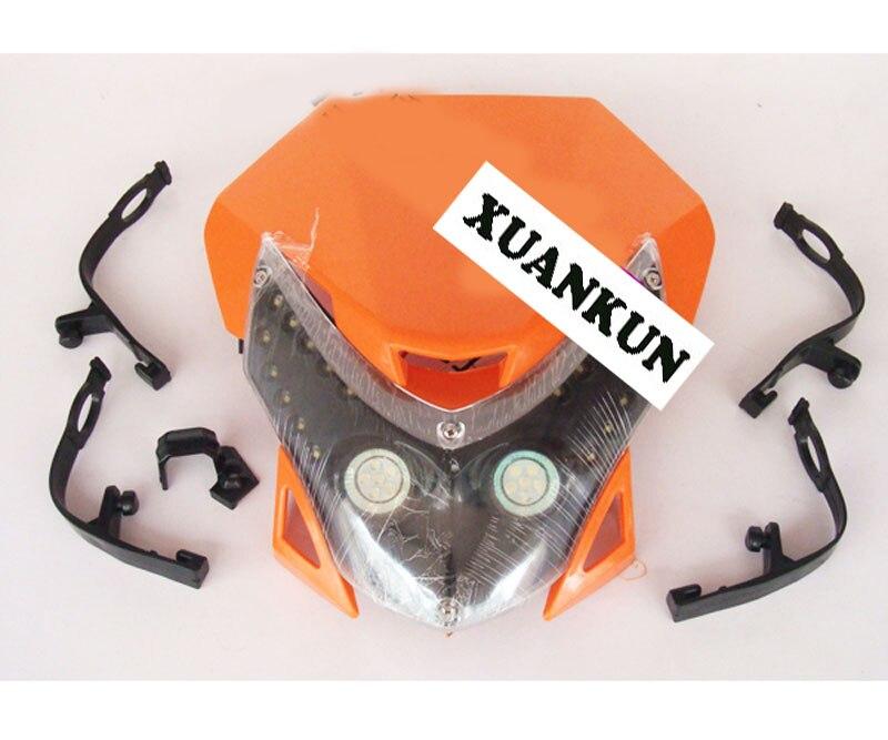 XUANKUN Motocross street car headlight conversion LED headlamps hood grimace grimace headlights with headlight turn signals