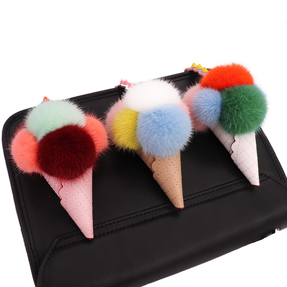 Glaforny Ice Cream Fur Jewelry Mink Fur Ice Cream Monster Bag Key Chain Female Plush Pendant Real Fur Accessory Fashion ice cream shaped crossbody chain bag