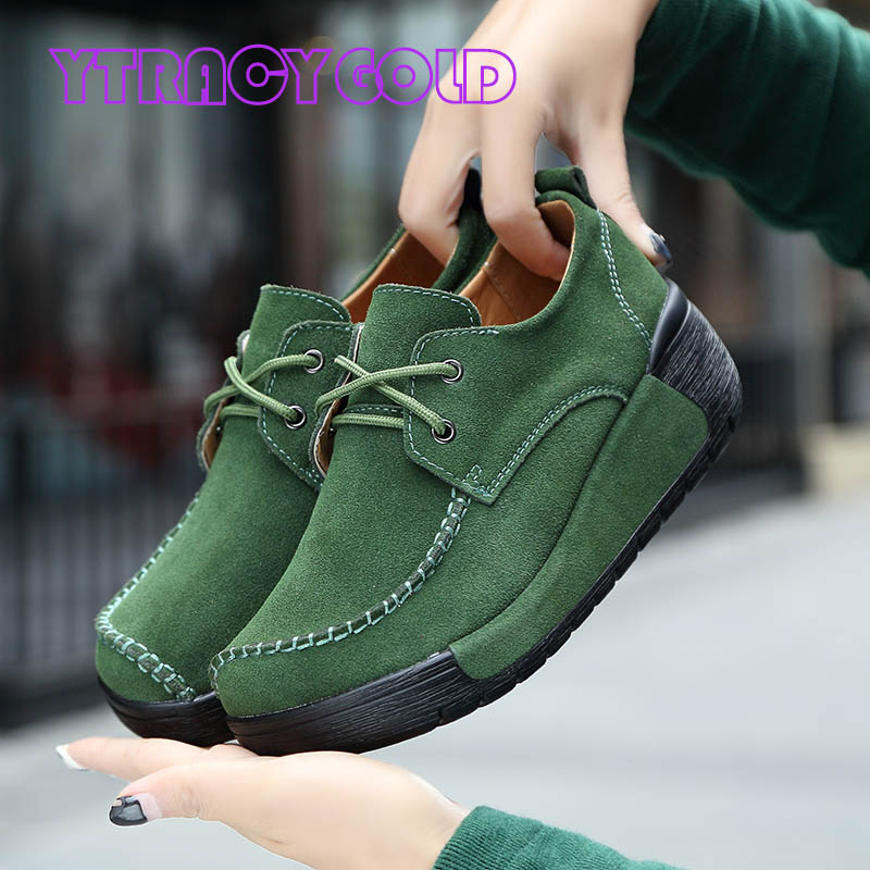 YTracyGold Genuine Leather Women Shoes Ladies Platform Flats Women Sneakers Casual Shoes Red Creepers Ladies Slimming Shoes цена