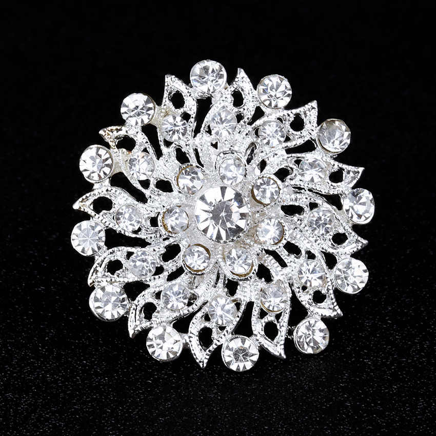 Silver Plated Brooch Small Round Flower Rhinestone Pins Brooches For Women Lapel Pin Jewelry Gift