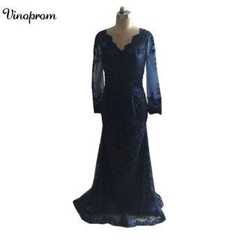 Fast Shipping Vestido De Festa Cheap A Line Lace Dark Blue Prom Dresses 2017 Long Formal Evening Party Dress