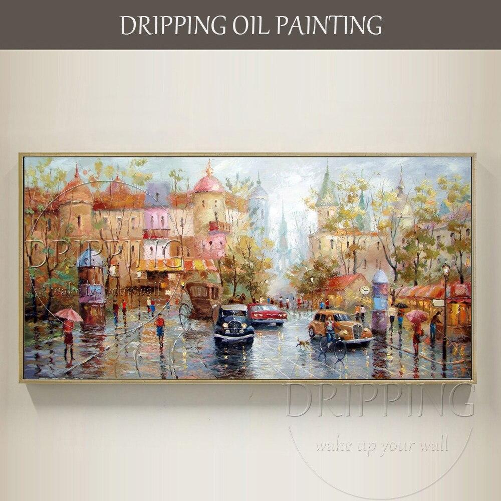 Profesjonalne malarz ręcznie malowane wrażenie wysokiej jakości ulicy obraz olejny na płótnie kolorowe rosyjski krajobraz obraz olejny w Malarstwo i kaligrafia od Dom i ogród na  Grupa 1