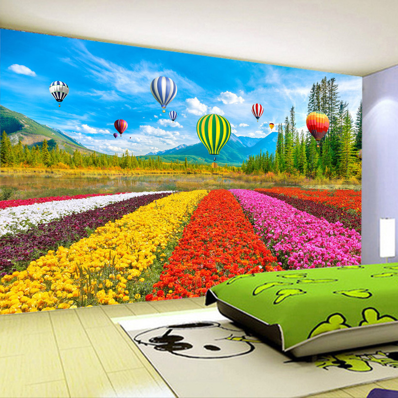 цены  Custom 3D Poster Photo Wallpaper Non-woven Flower Sea Tulip Hot Air Balloon Living Room Sofa Wall Home Decor Mural Wallpaper 3D