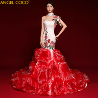 Luxury Red Evening Dresses Ladies Halter Cap Sleeves Crystal Party Dress White Embroidery Dubai Style Real Photos Ball Gown 2019