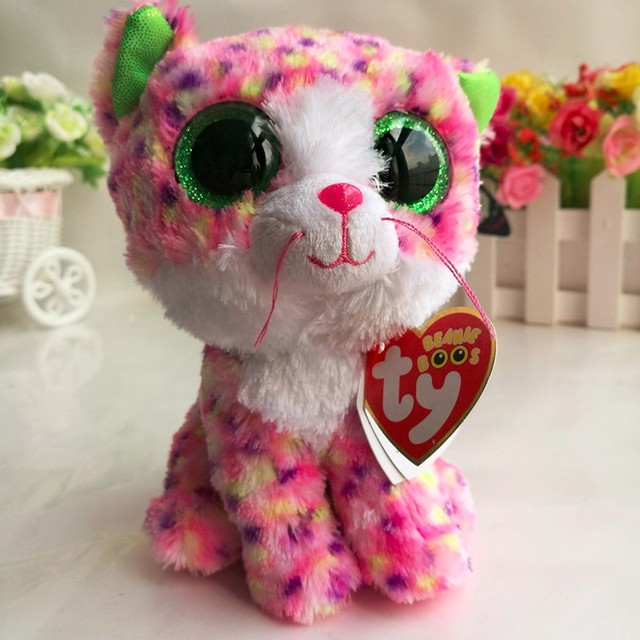 3f5a654f0e7 TY BEANIE BOOS 1PC 15CM Sophie pink cat BIG EYES Plush Toys Stuffed animals  soft toys