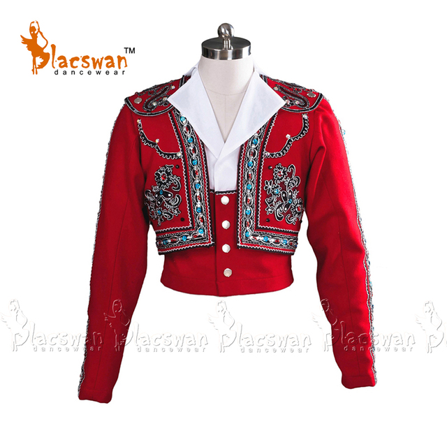 Custom Made Prince Man Ballet Tunic Men Ballet Top Jacket Spanish Ballet Costume Red Tailor Making Male Ballet Outwear Top BT799