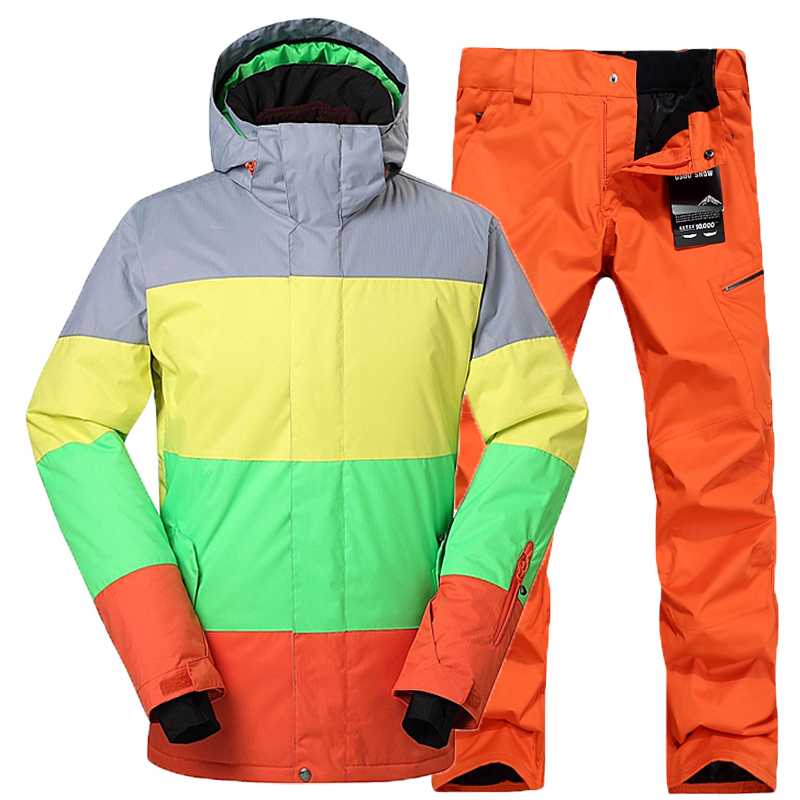 0824b630014 GSOU SNOW Men s Winter Warm Cheap Snowboard Suit Mountain Skiing Suit for Men  Ski Jacket Pants Windproof Skiwear -in Skiing Jackets from Sports ...