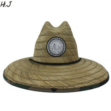 天然わら織りライフガード帽子用男性ビーチ太陽の帽子屋外広いつば迷彩パナマ帽子サイズ58 59センチ