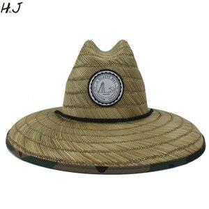 Image 1 - Sombrero salvavidas de tejido de paja Natural para hombre, sombrero de Sol de playa, ala ancha, Camuflaje, Panamá, talla 58 59CM