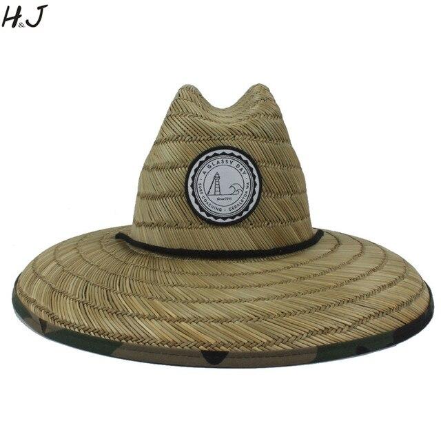Sombrero salvavidas de tejido de paja Natural para hombre, sombrero de Sol de playa, ala ancha, Camuflaje, Panamá, talla 58 59CM