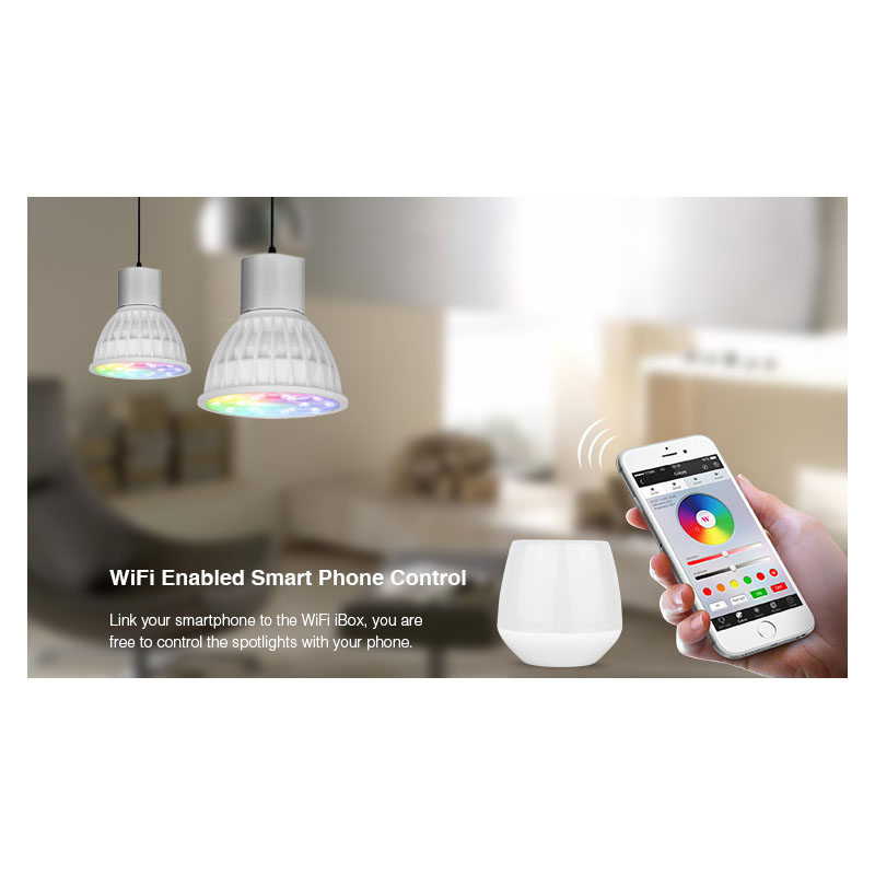 MiLight AC86-265V 4W LED Bulb GU10 Dimmable LED Lamp Light RGB+Warm White+White (RGB+CCT) Spotlight Indoor Living Room