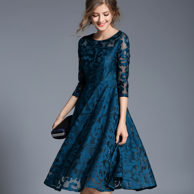 Autumn Lace Slim O-neck Sexy Hollow Out Blue Red Dress 5