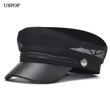 USPOP 2019 women newsboy caps breathable summer pu brim patchwork military flat top visor