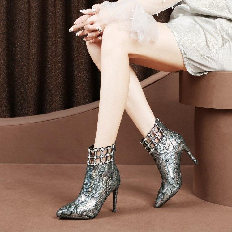 MLJUESE 2019 vrouwen enkellaarsjes Kid Suede Rome stijl dunne hak hoge hakken laarzen winter korte pluche warme laarzen maat 33 43-in Enkellaars van Schoenen op  Groep 1