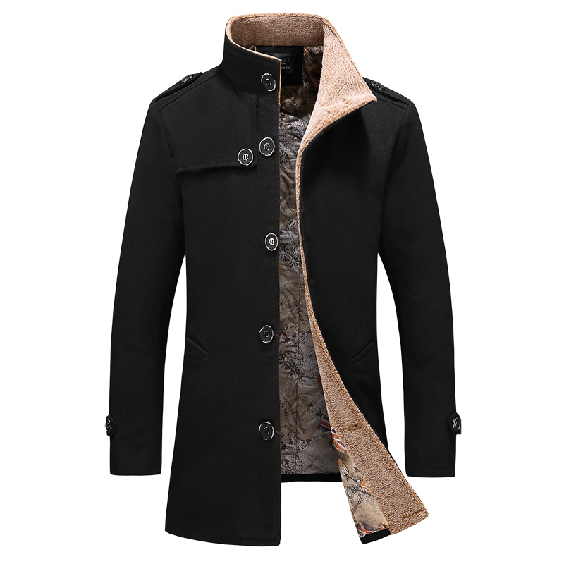 Warm Trench-Coat Coat/medium Long-Section Autumn Men's Winter New Thick And Plus Velvet