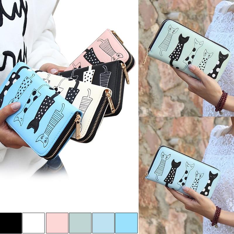 New Women Cat Cartoon Wallet Long Creative Card Holder Casual Zip Ladies Clutch PU Coin Purse ID Holder Popular new europe women pure wallet long creative female card holder casual zip ladies clutch pu leather coin purse id holder