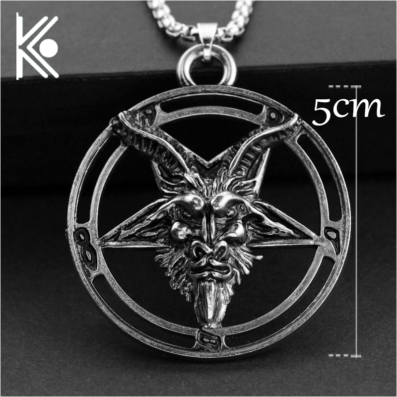 Baphomet Pentagram Devil Satan Goat Head Occult Neclace Silvered Chain Pendant Strengthening Sinews And Bones Necklaces & Pendants