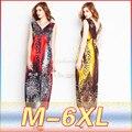 5XL Лето Женщины Платья Большой Размер Женщин Вскользь Печати Летнее Платье Свободные Рукавов Глубокий V Шеи Платье Плюс Размер женская Одежда