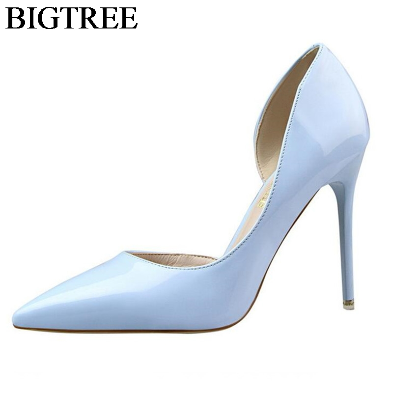 BIGTREE Brand Shoes Woman High Heel Pumps Thin Heels Stilleto Sexy Women Point Toe Party Wedding Shoes Office Lady Nude Shoes bigtree 2017 sexy pearl metal point toe patent leahter high heels pumps shoes woman s red sandals heels shoes wedding shoes k109