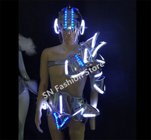 WX22 Mens Singer silver mirror clothes ballroom dancing clothing bar party dj disco suits performance led light stage costumes