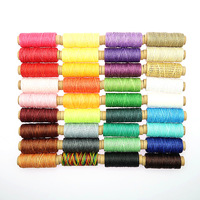 36pcs/set 50m 150D Woven 1mm Flat Wax Thread for DIY Leather Hand Stitching Sewing Craft Leather DIY Material Sewing Thread Set