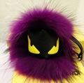 Fluffy Genuine Raccoon Fur Pom Pom Keychain Fur Ball Monster Bag Charm Women Plush Bag Accessories Key Chains Key Ring