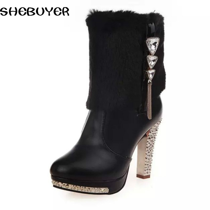 04e4d58484d US $20.49 18% OFF|2016 new winter high heel boots women warm fur ankle  short boots top quality soft pu leather sexy lady black white boots-in  Ankle ...