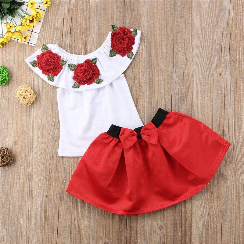 6553efcb01c3 Fashion Toddler Kid Baby Girl Off Shoulder Top Floral Skirt Outfit ...