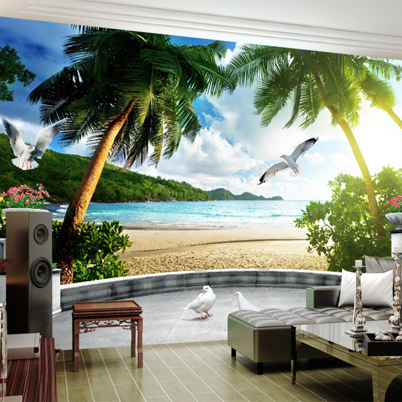 custom 3d photo wallpaper beach balcony stereoscopic space mural living room sofa bedroom tv. Black Bedroom Furniture Sets. Home Design Ideas