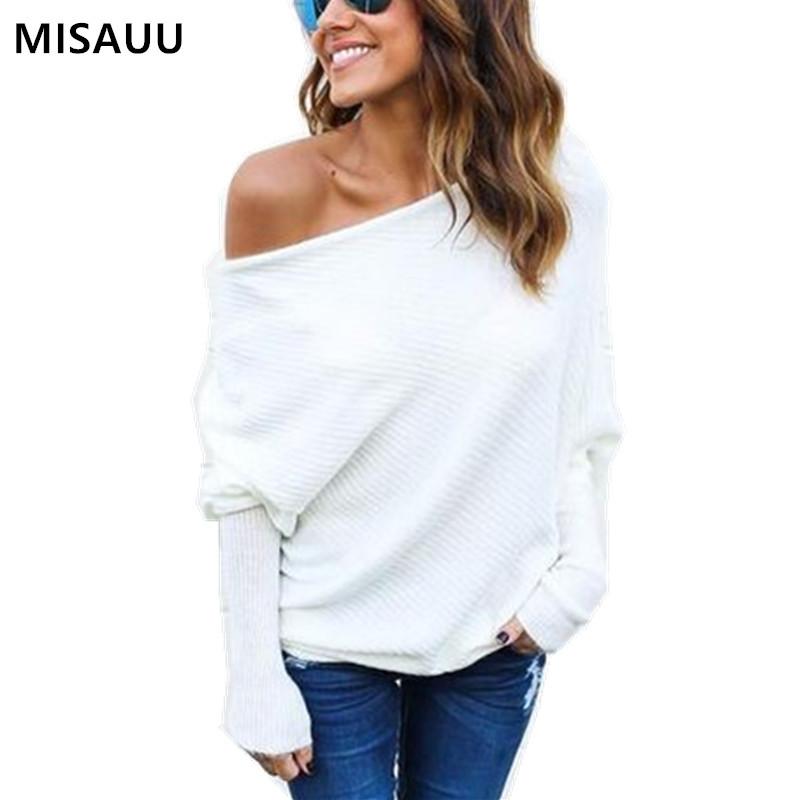 Misauu Slash Neck Off Shoulder Sweater Pullover Women Long Sleeve Autumn Winter Knitted Sweater Sexy Jumper Top Pull Femme