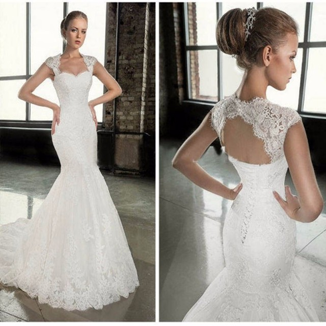 2016 mermaid decal Sirene robe De married 2016 with removable straps cherie robe De married sweep De Mariage robe ER475