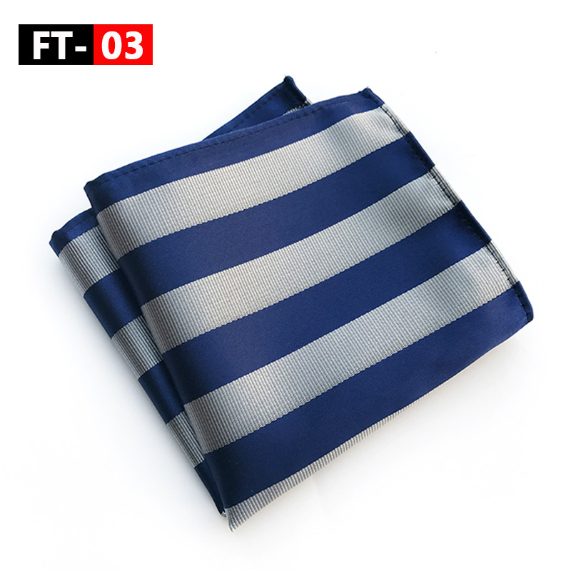 Blue Gray Yellow Pink Men's Handkerchief Striped Printed Hankies Silk Polyester Hanky Business Pocket Square Chest Towel 25*25CM