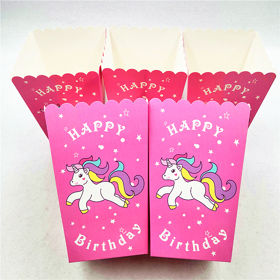 10pcs set Unicorn Popcorn Boxes Happy Birthday Party Supplies Candy Loot Box Cartoon Theme Baby Shower Wedding Party Decoration in Gift Bags Wrapping Supplies from Home Garden